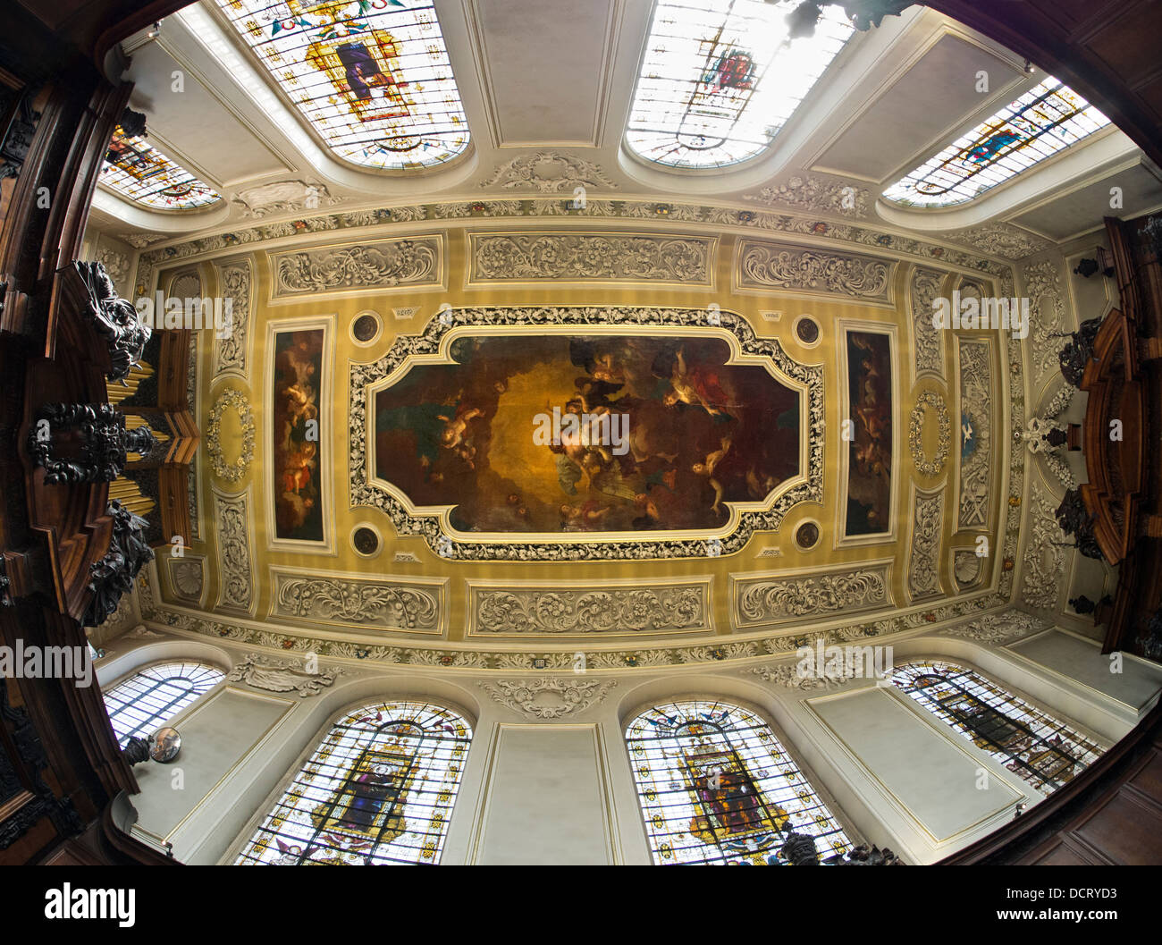 The Chapel of Trinity College, Oxford - fisheye view 2 - Stock Image