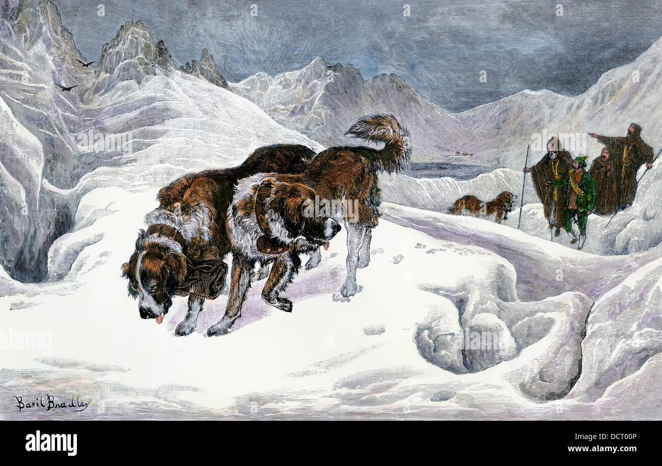 Saint Bernard dogs and monks on a rescue mission in the Alps. Hand-colored woodcut - Stock Image