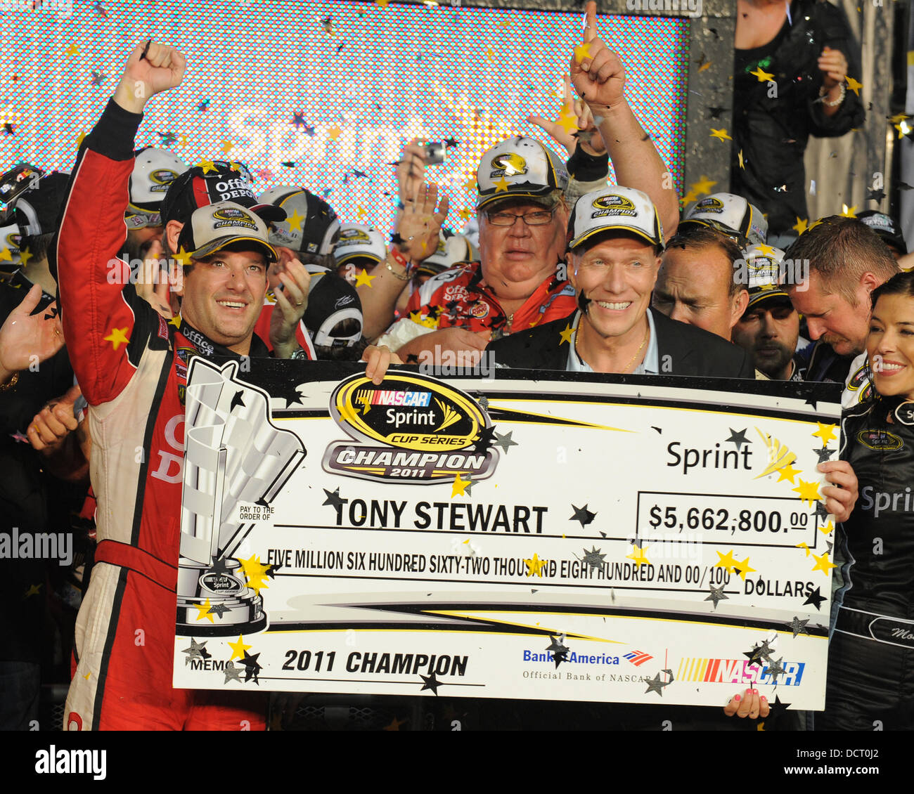 Tony Stewart Wins The Nascar Sprint Cup Series Ford 400 At Stock
