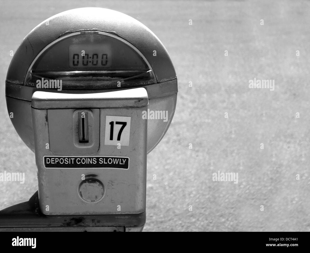 Close up of parking meter showing that the time has run out - Stock Image