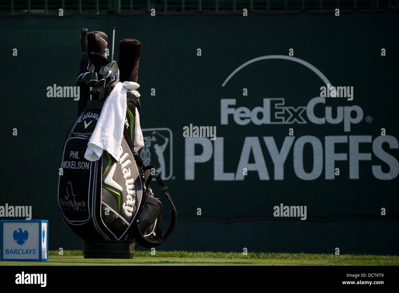 Jersey City, New Jersey, USA. 21st Aug, 2013. August 21, 2013: Phil Mickelson (USA) golf bag is viewed in front - Stock Image