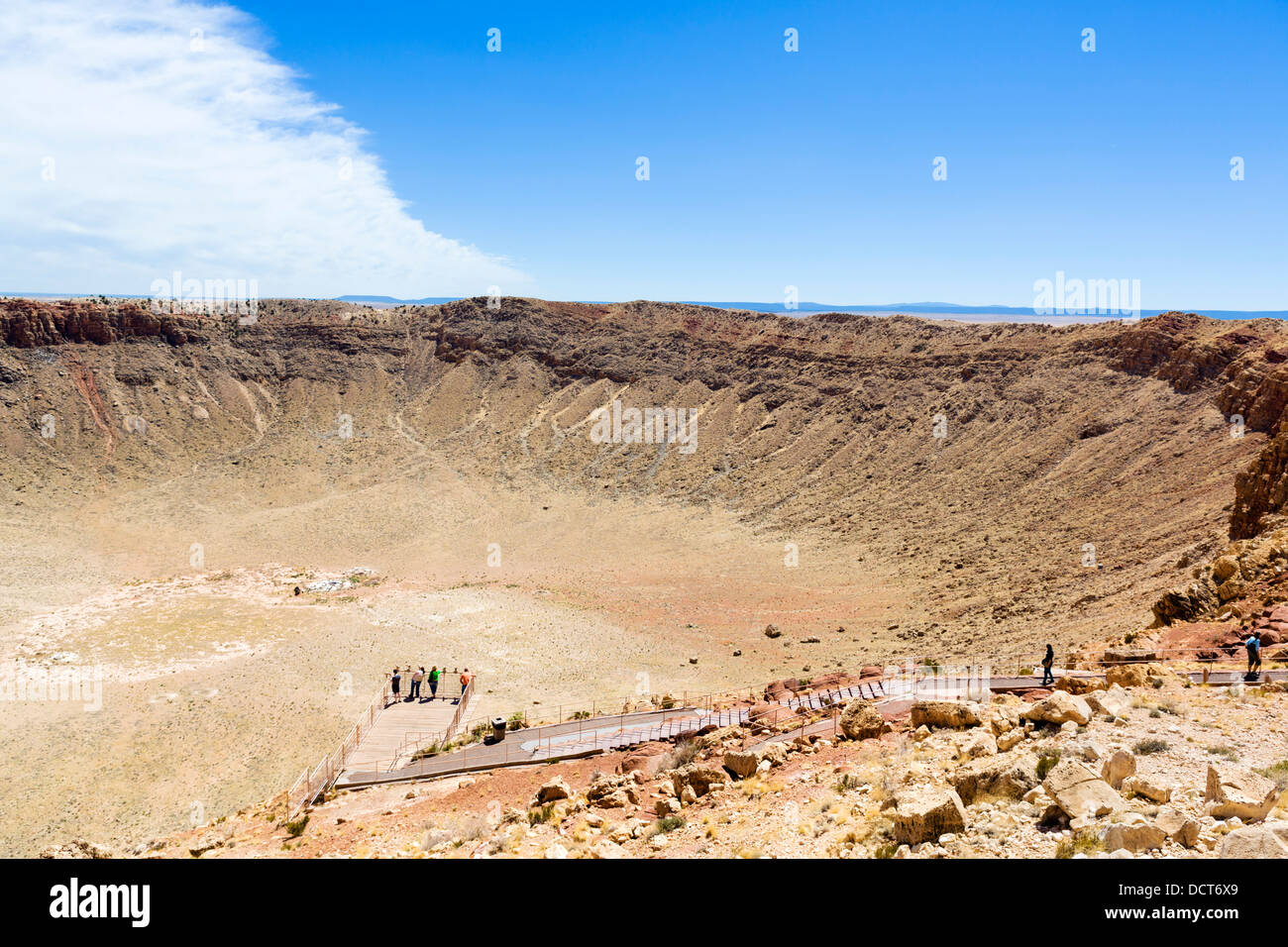 Tourists on the Rim overlook, Meteor Crater (also known as Barringer Crater) near Winslow, Arizona, USA - Stock Image
