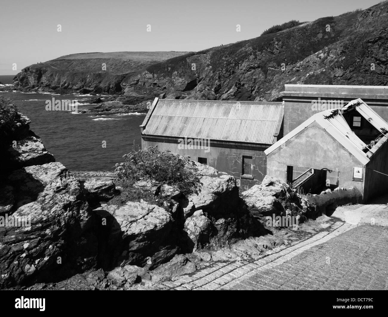 The Old Life Boat House at Lizard Head. the Lizard Peninsula Cornwall England UK - Stock Image