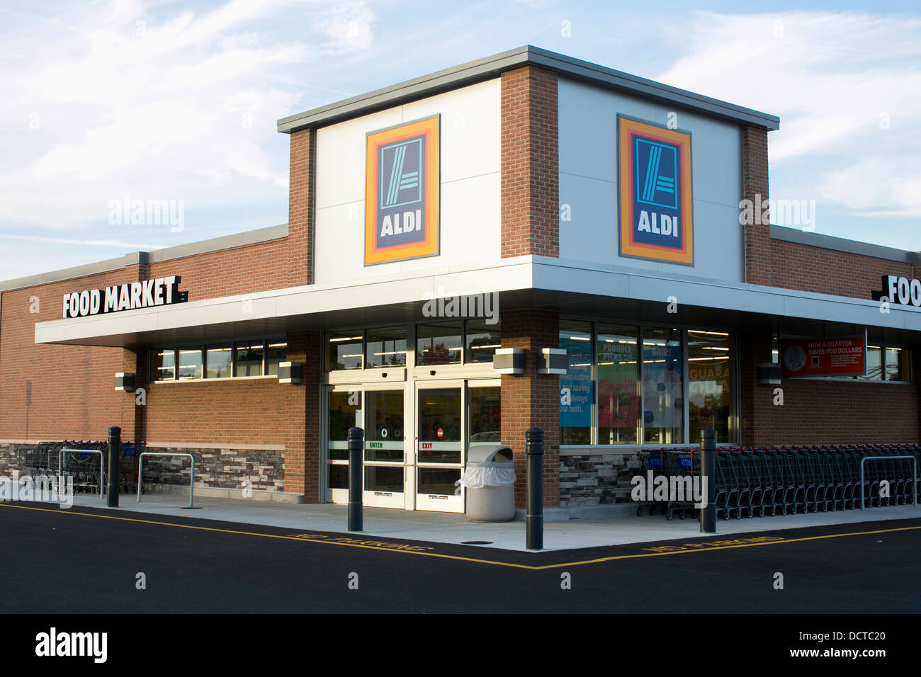 An Aldi discount grocery store.  Stock Photo