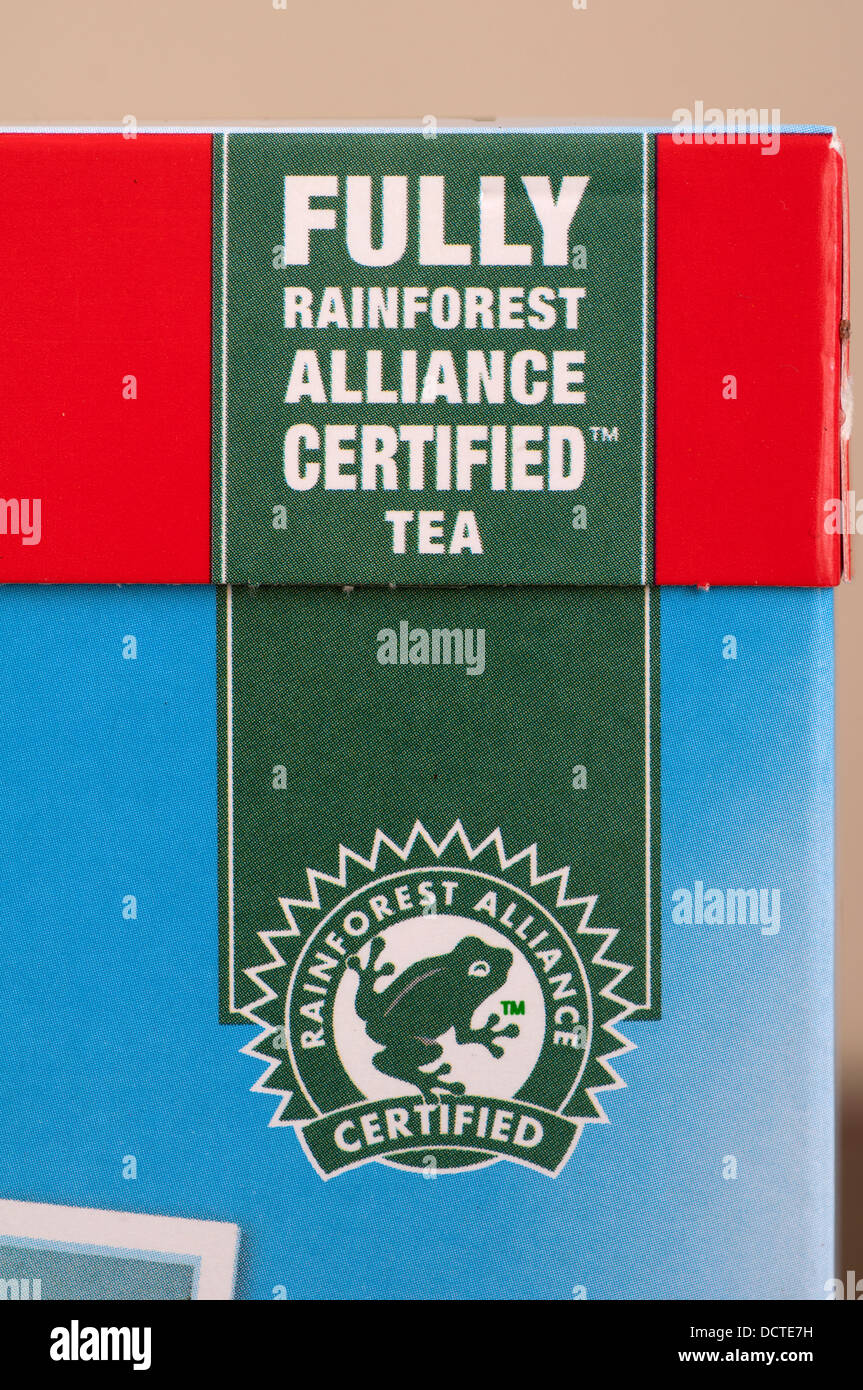 Rainforest Alliance Certified Symbol On A Box Of Pg Tips Tea Bags