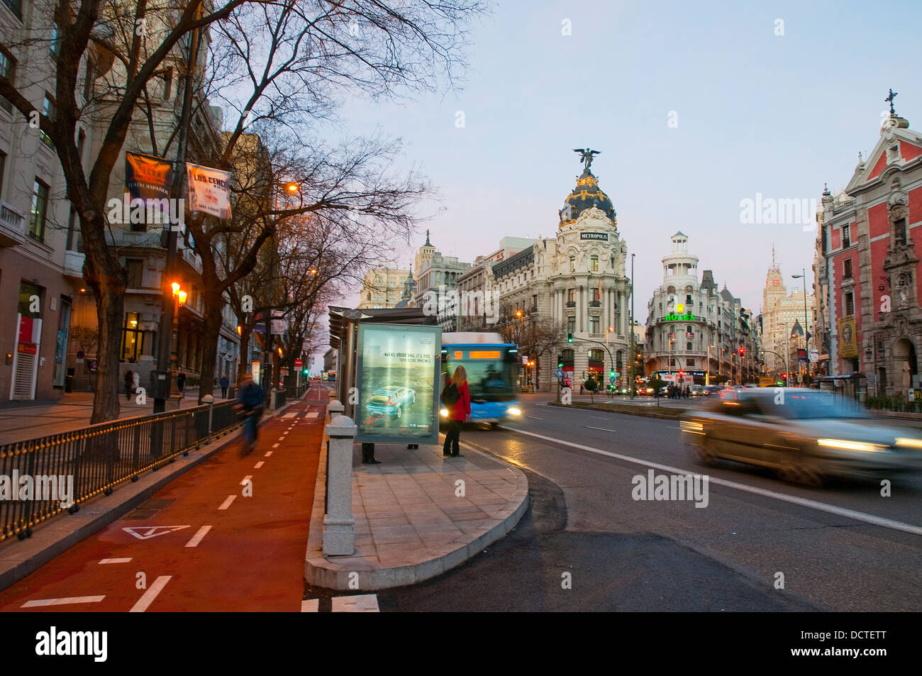 Cycle lane and bus stop at dawn. Alcala street, Madrid, Spain. Stock Photo