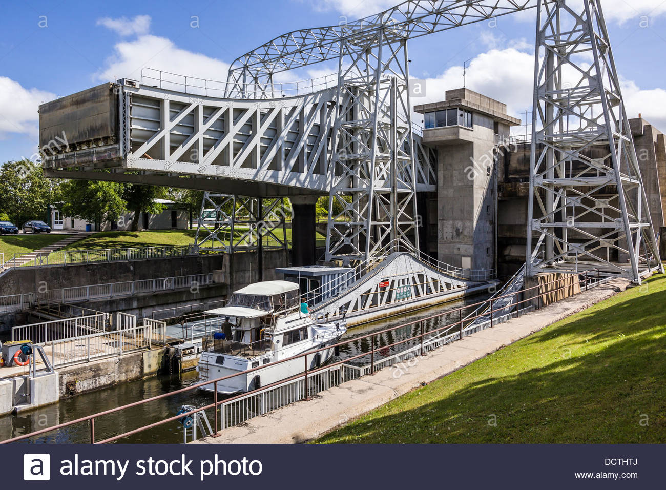 Lower reach of Kirkfield Lift Lock on Trent-Severn Waterway National Historic Site of Canada at Kirkfield Ontario - Stock Image