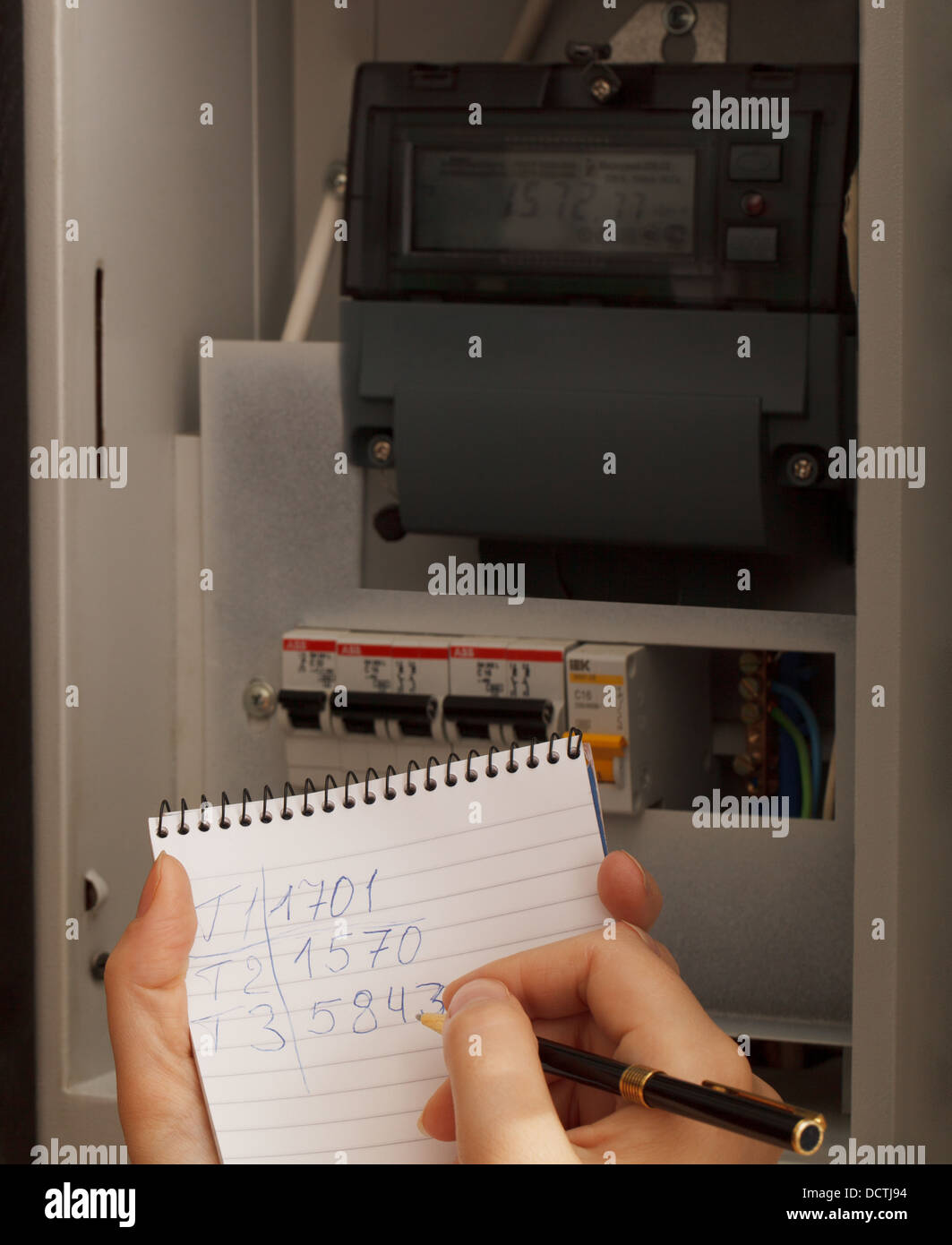 Rewriting of the electrical meter readings - Stock Image