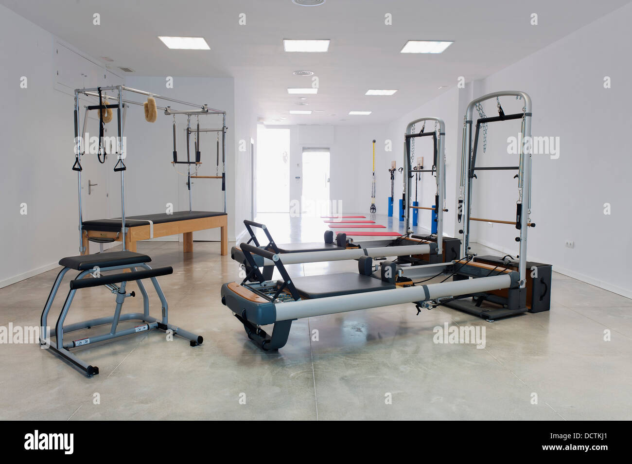 Exercise Equipment In A Workout Room; Benalamadena Costa, Malaga, Costa Del Sol, Andalusia, Spain - Stock Image