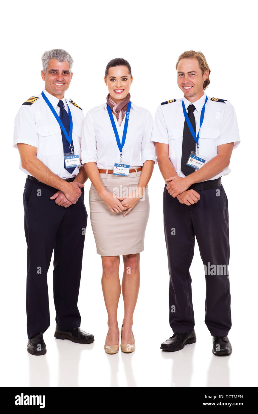 airline crew of pilots and flight attendant on white background - Stock Image