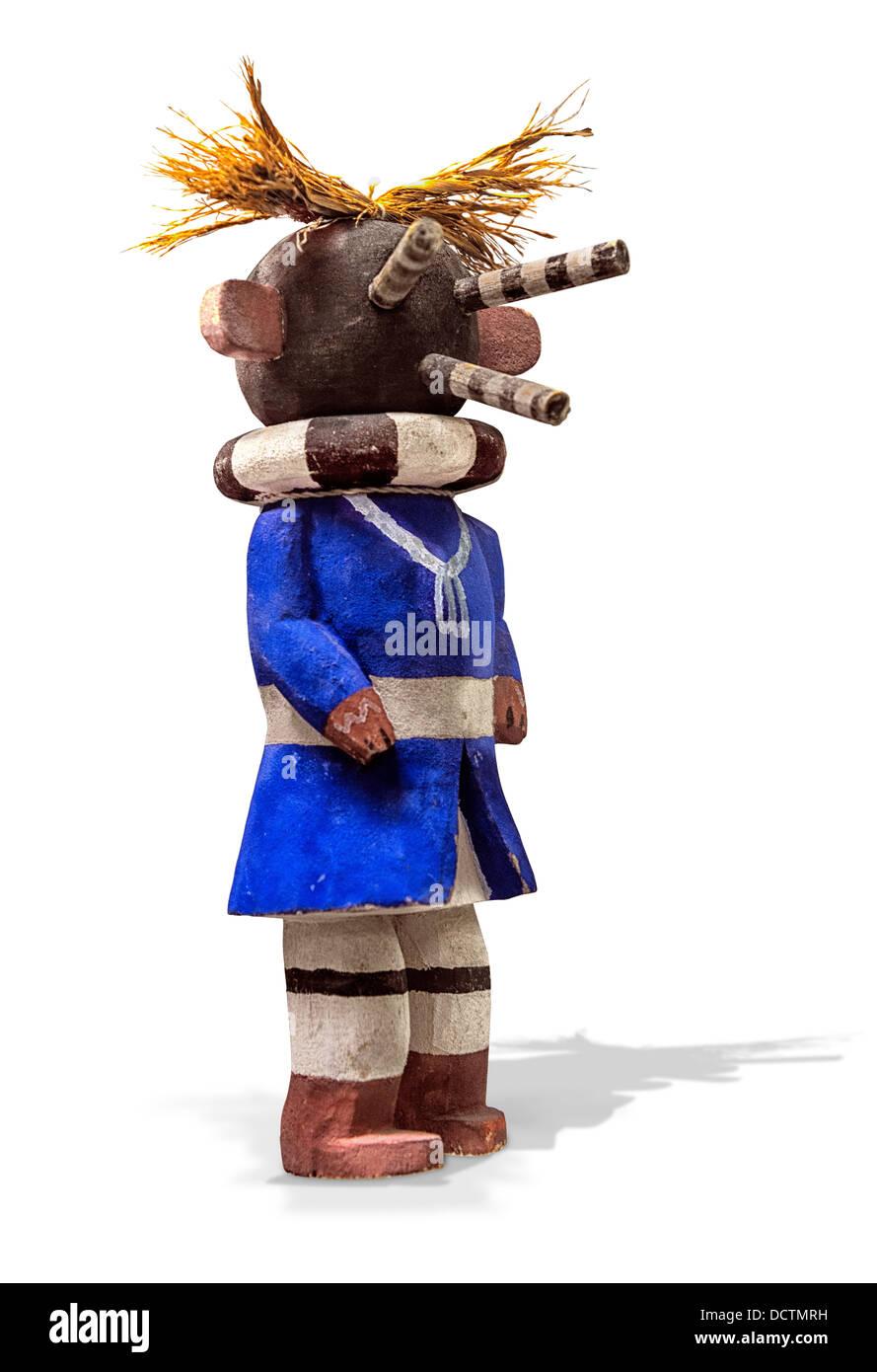 A Hopi  Mocking Katsina Kachina doll. His purpose is to comment on improper social behavior. By mocking other dancers. - Stock Image