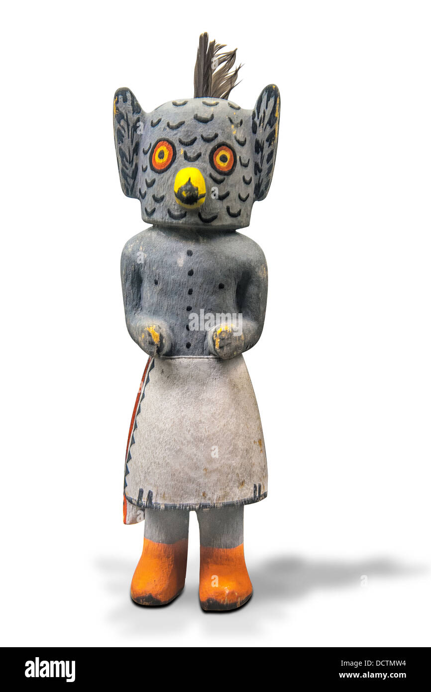 A Hopi Owl Kachina doll.He symbolizes intelligence,wisdom,and a good hunt. The image is a knockout on a white background - Stock Image