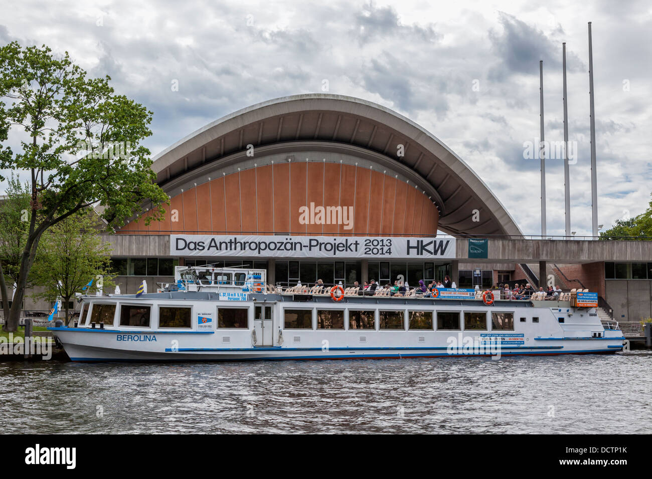 Exterior View of the HKW, Haus der Kulturen der Welt, on the banks of the Spree river, Berlin - Stock Image