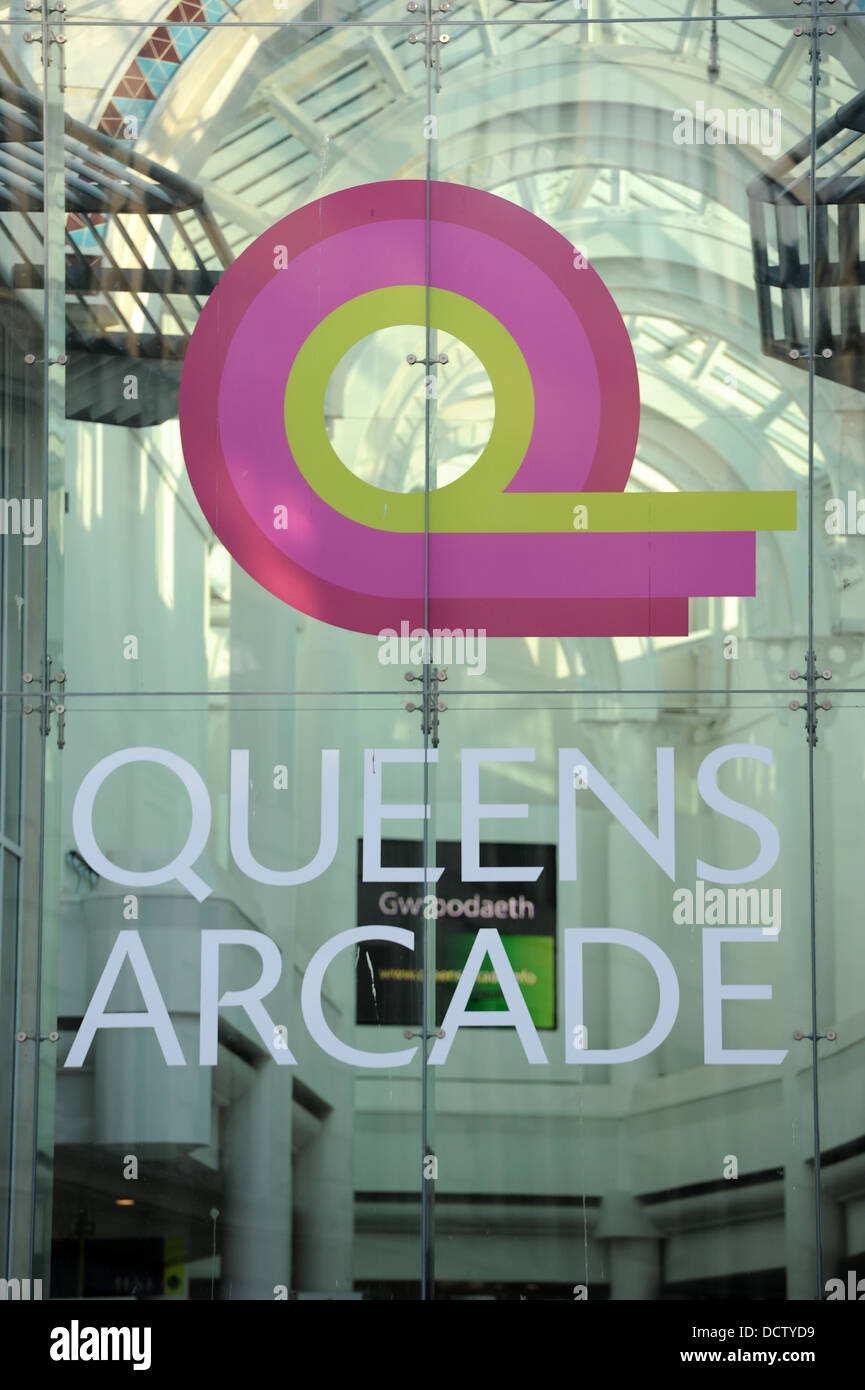 Queens Arcade in Cardiff, Wales. - Stock Image