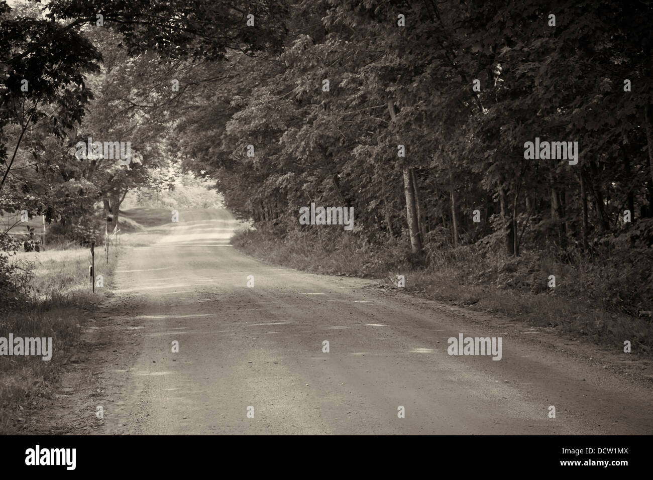 unpaved rural country road near Hardwick, Vermont, New England, USA - Stock Image