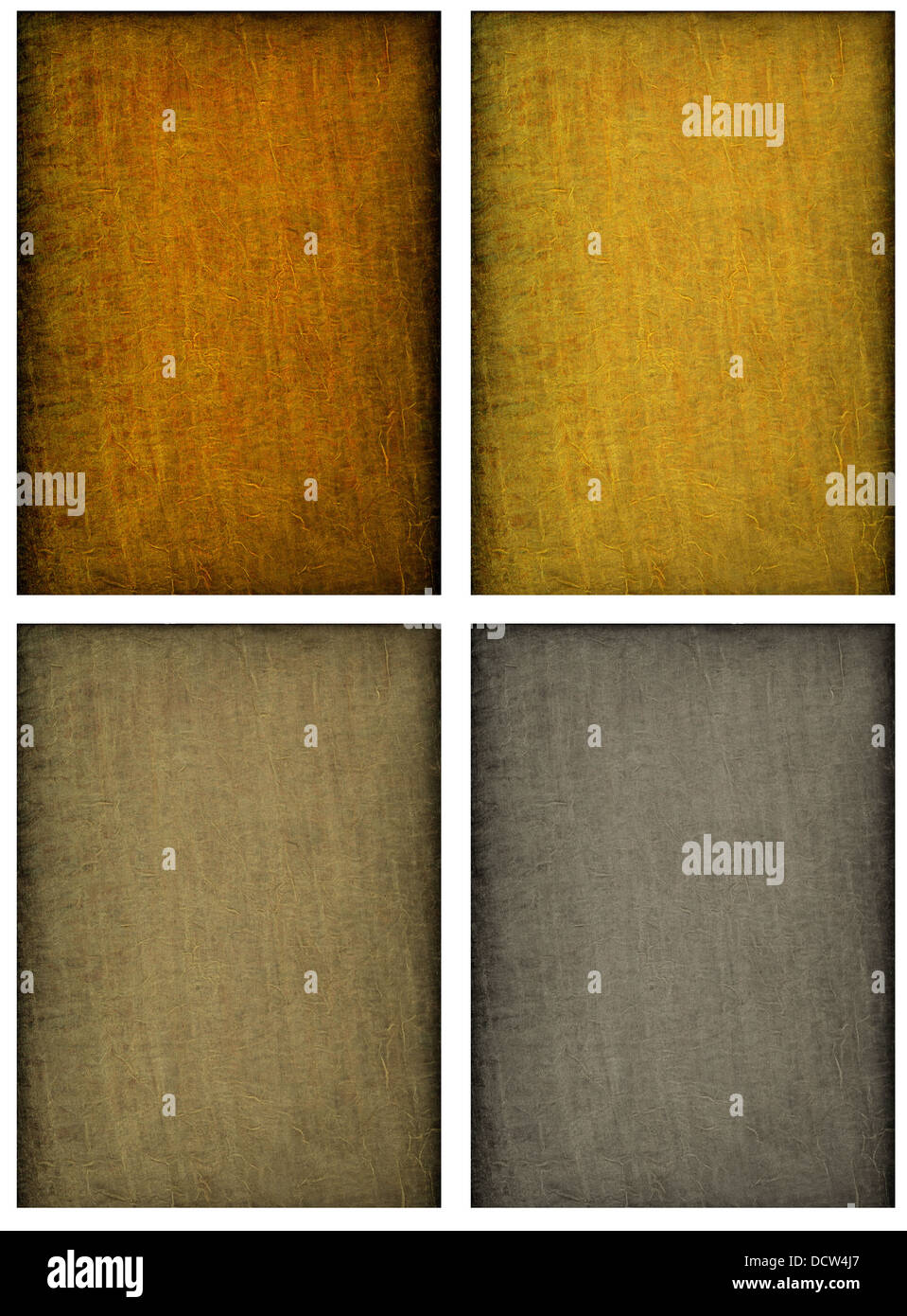 Collage of beautiful textured backgrounds in earthy tones of orange, yellow, brown and gray - Stock Image