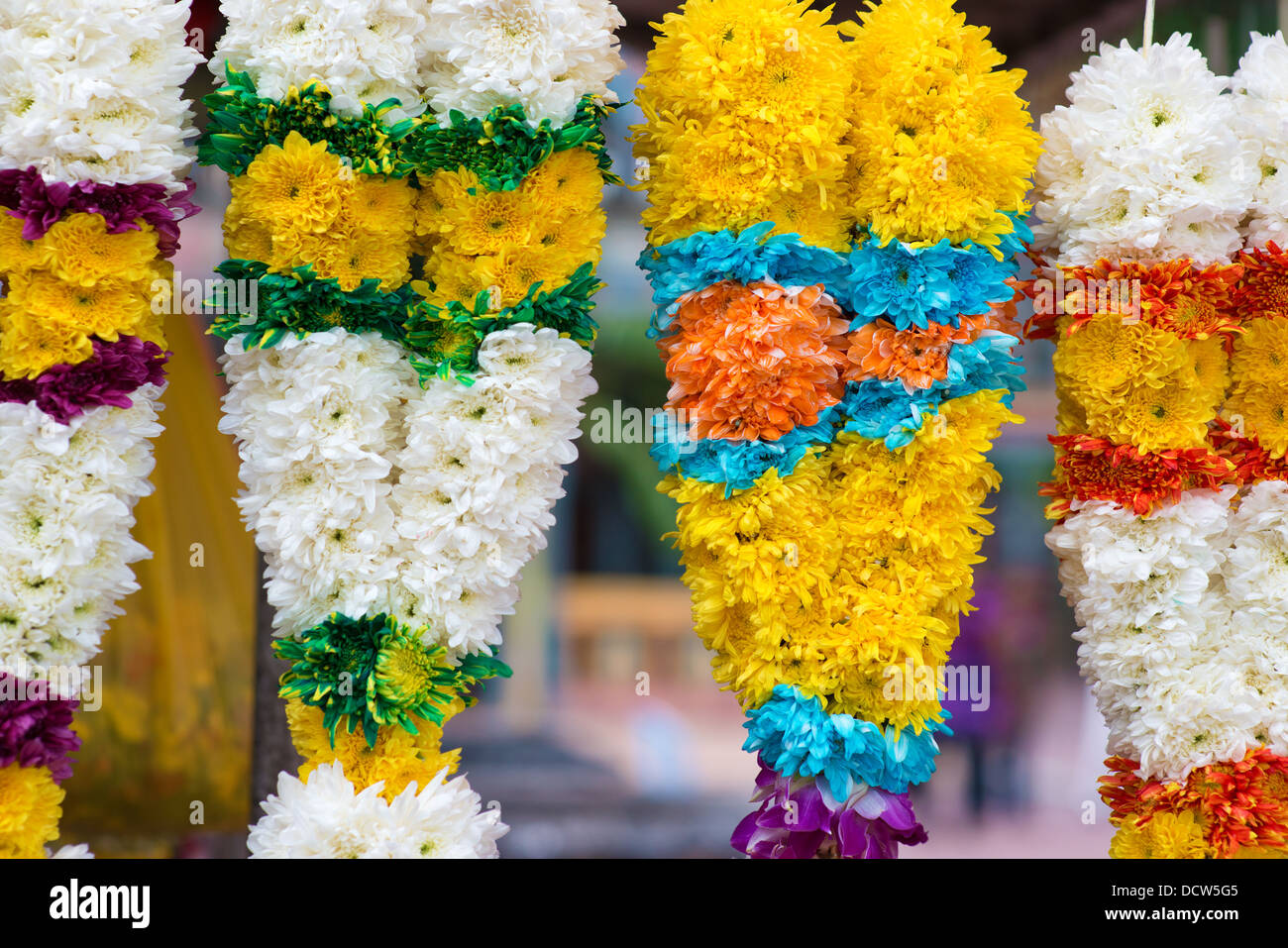 Indian flower garlands for sales during diwali festival - Stock Image