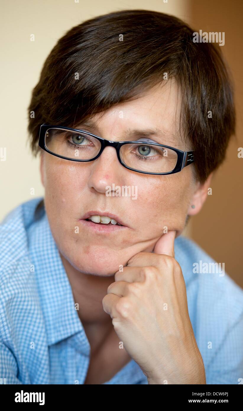 The meanwhile exempted employee of the Hamburg Job Center, Inge Hannemann, is pictured in her apartment in Hamburg, - Stock Image