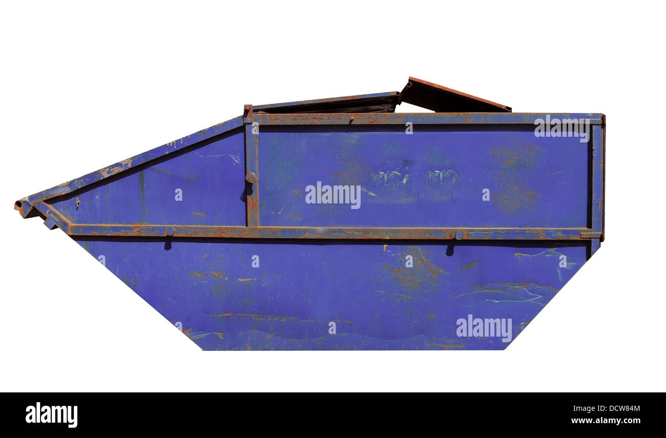 Side view of rusty blue skip isolated on white background. - Stock Image