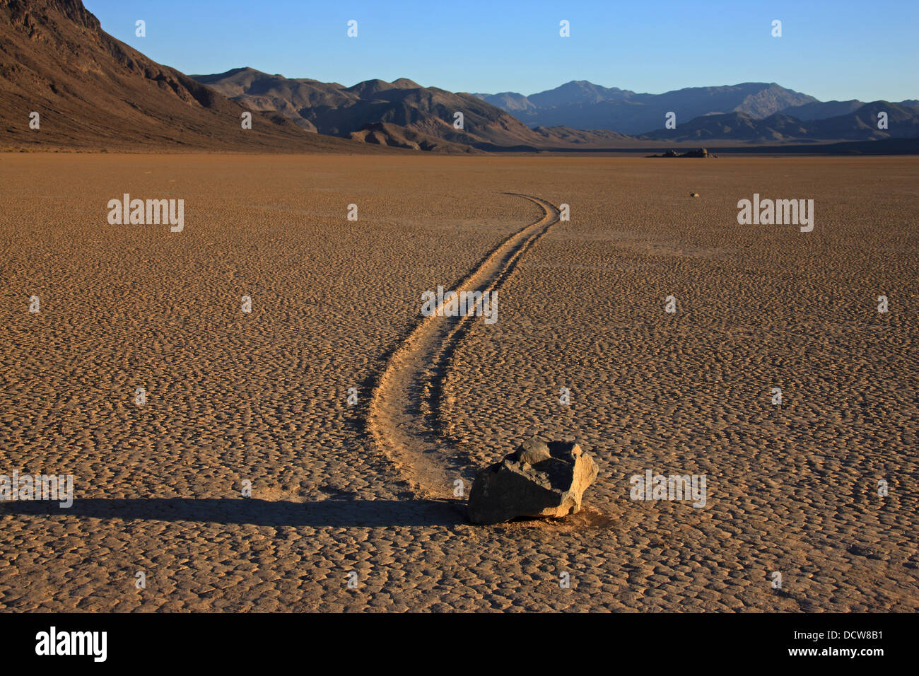 Sailing stones in Death Valley National Park - Stock Image