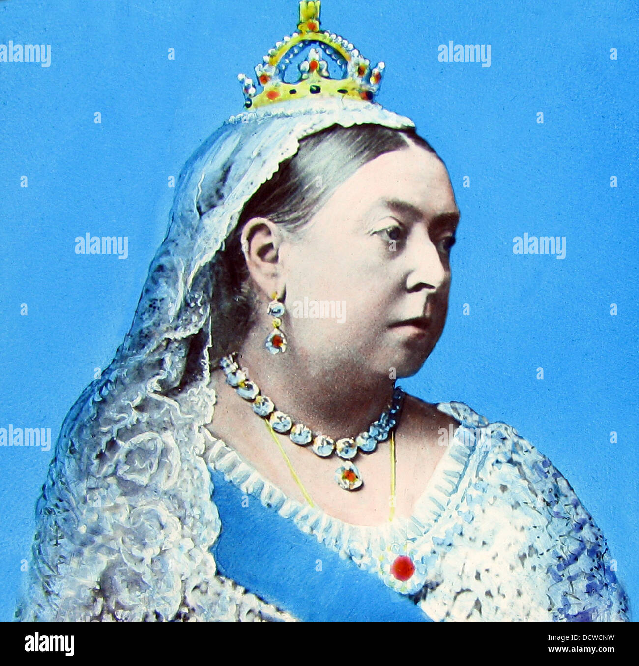 Victorian Magic Lantern Slide Queen Victoria - Stock Image
