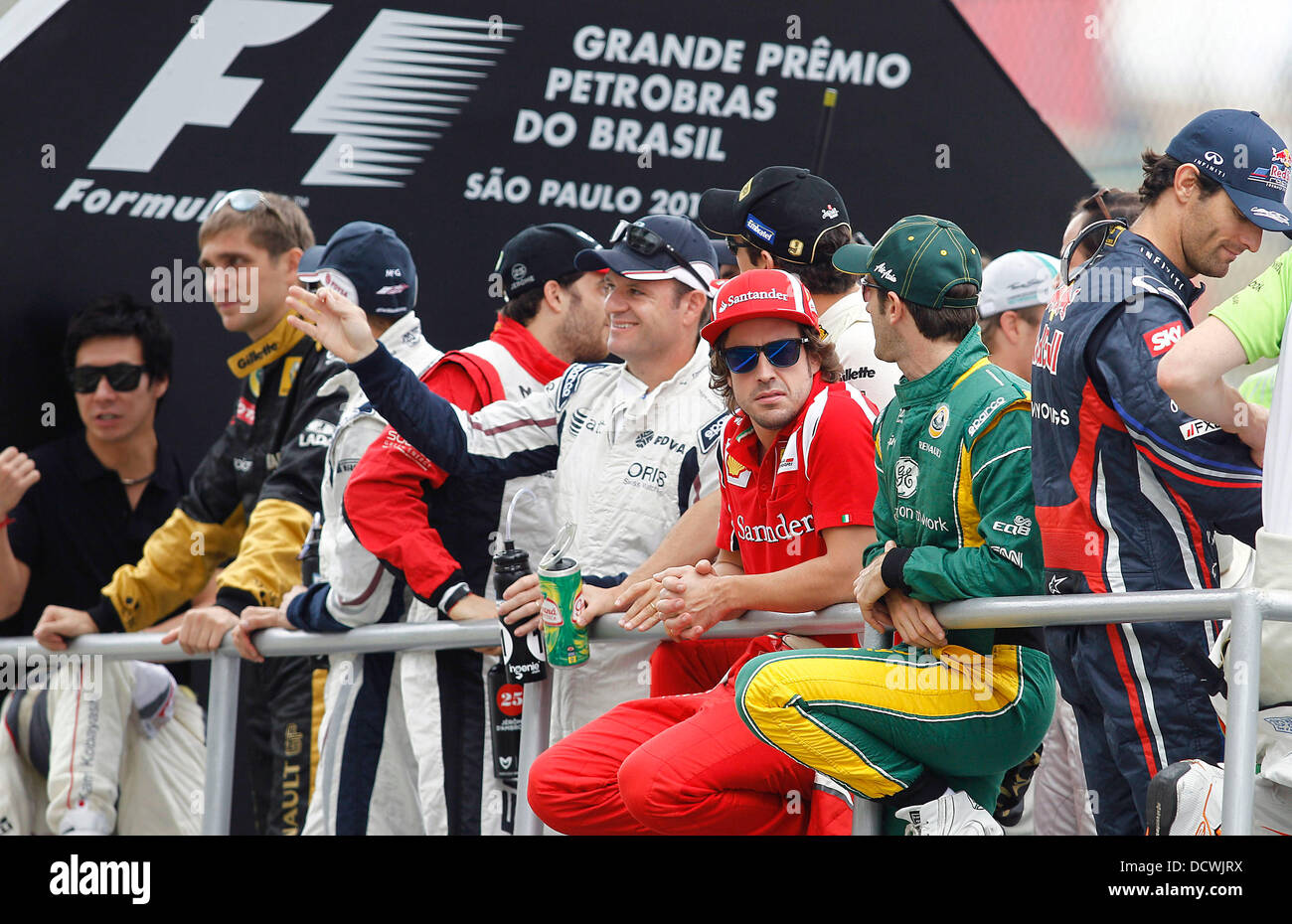 Rubens Barrichello, Fernando Alonso, Vitaly Petrov,  The Brazilian Formula One Grand Prix at the Autodromo Jose - Stock Image