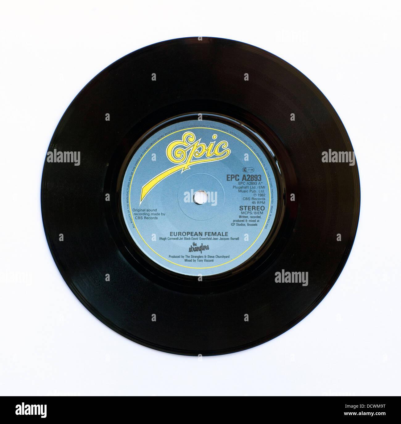 The Stranglers - European Female, 1982 7' single on Epic - Stock Image