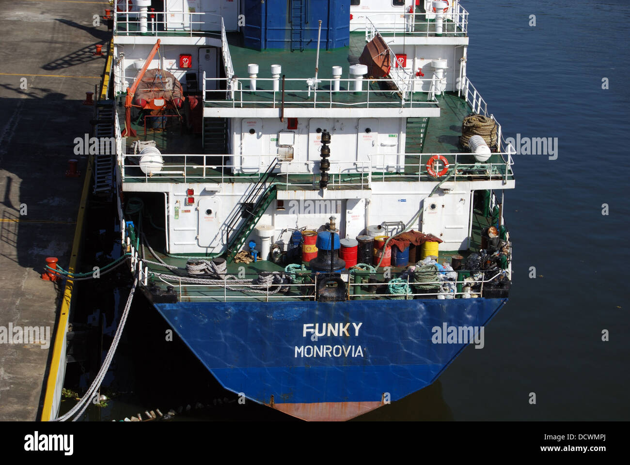 Stern of the cargo ship 'Funky' along the quayside in Santo Domingo, Dominican Republic, Caribbean. - Stock Image