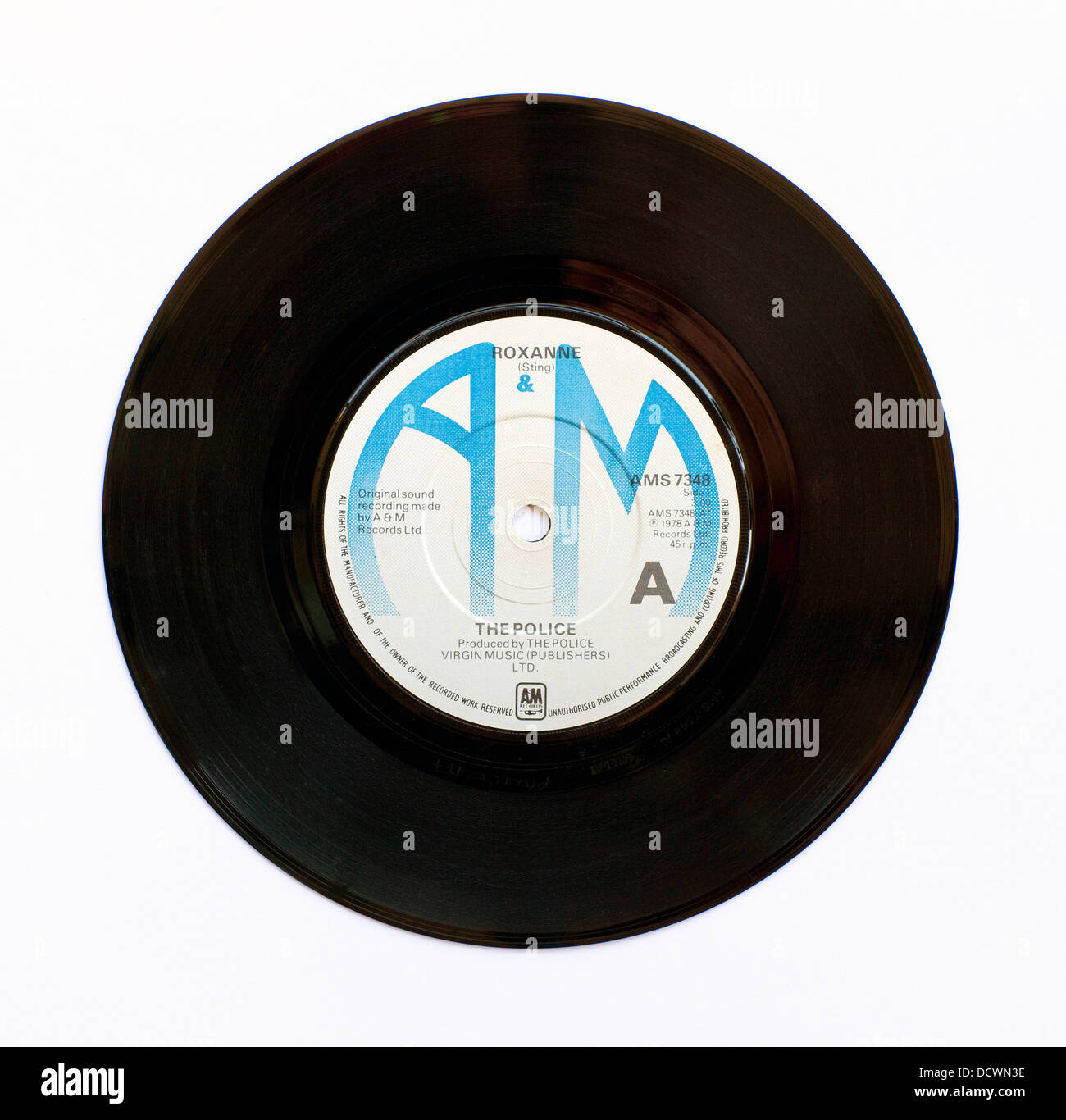 The Police - Roxanne, 1978 7' single on A&M Records - Stock Image