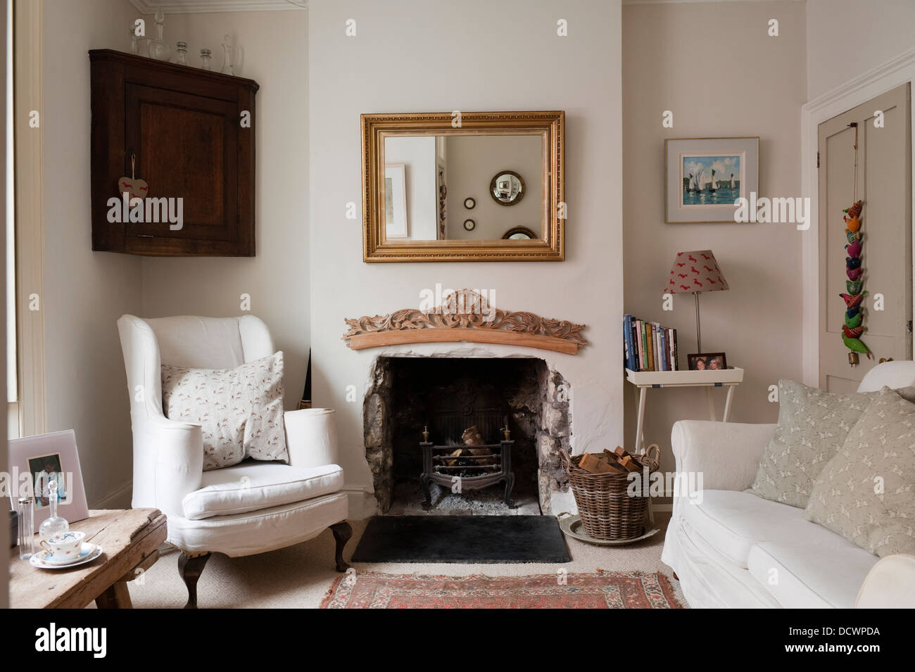 Living room fireplace in Bristol home of British fabric designer