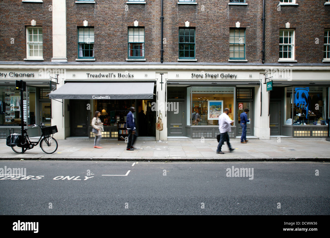 Treadwell's Books and Store Street Gallery on Store Street, Bloomsbury, London, UK - Stock Image