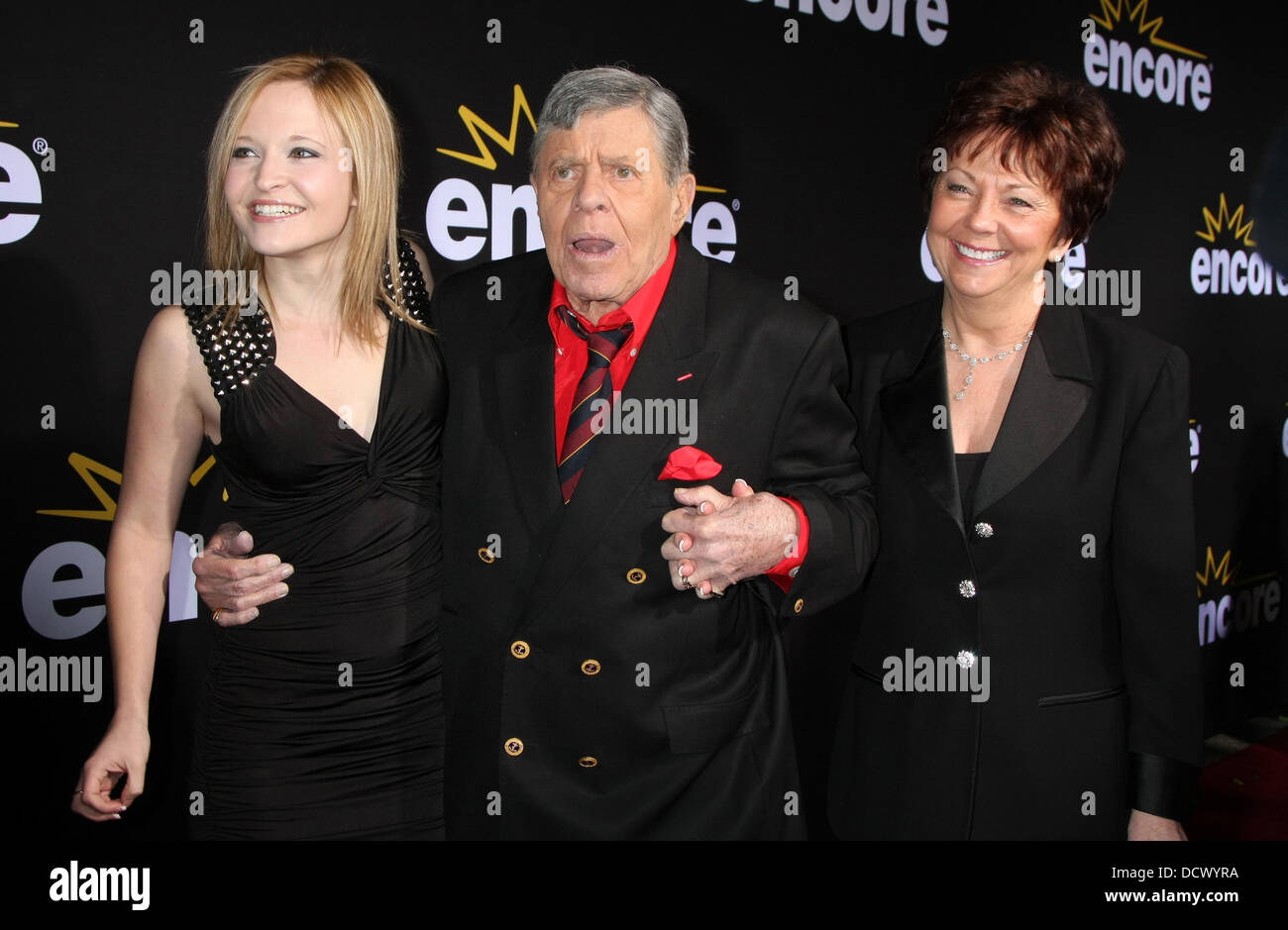 """Daughter Danielle Sarah Lewis, Jerry Lewis, wife SanDee Pitnick  LA Premiere of Encore's """"Method To The MadnessStock Photo"""