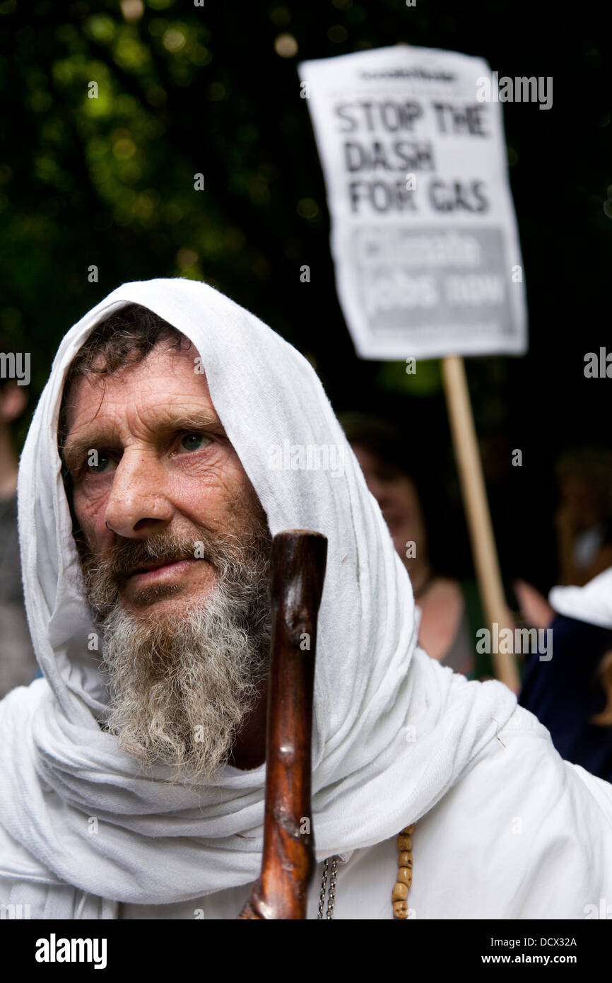 A druid has turned out in support of the anti-fracking movement. Thousands turned out for a march of solidarity - Stock Image