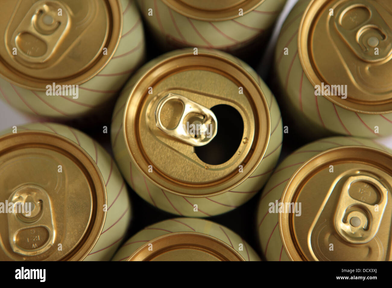 Ring pulls on the top of Ginger beer cans - Stock Image