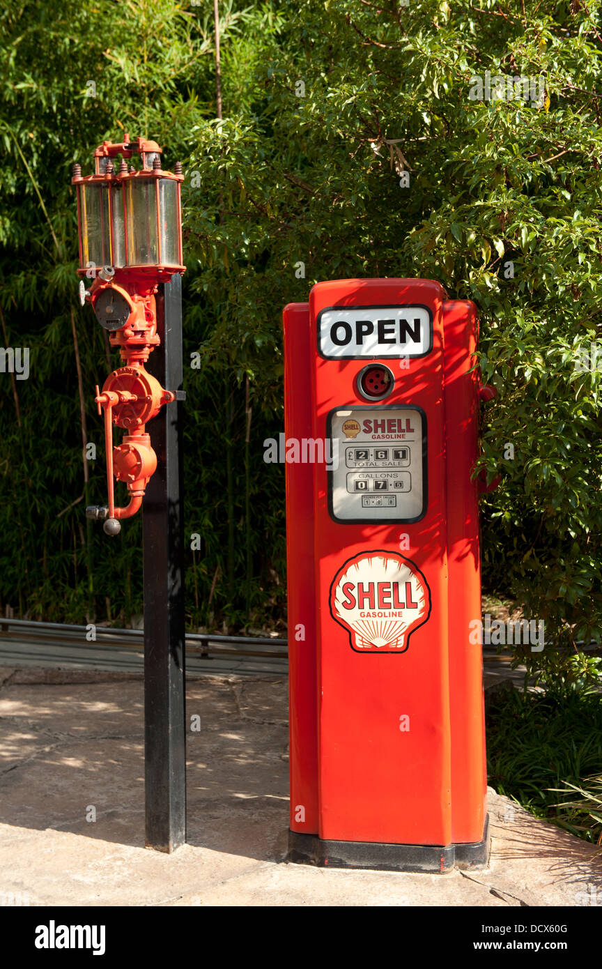 old petrol pump, Gold Reef City, Johannesburg, South Africa - Stock Image