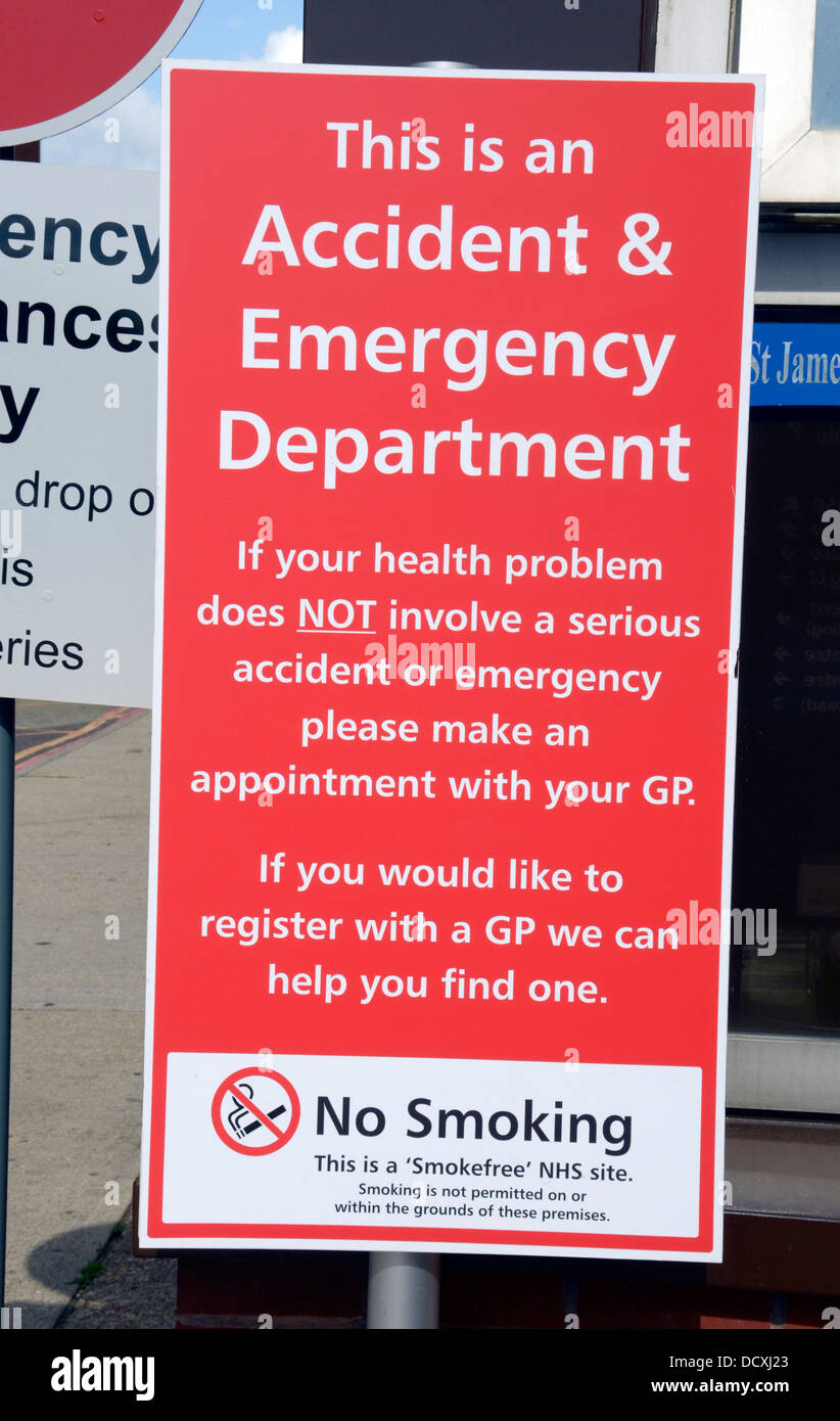 A sign in a hospital car park asking that only serious health problems seek help in their accident and emergency - Stock Image