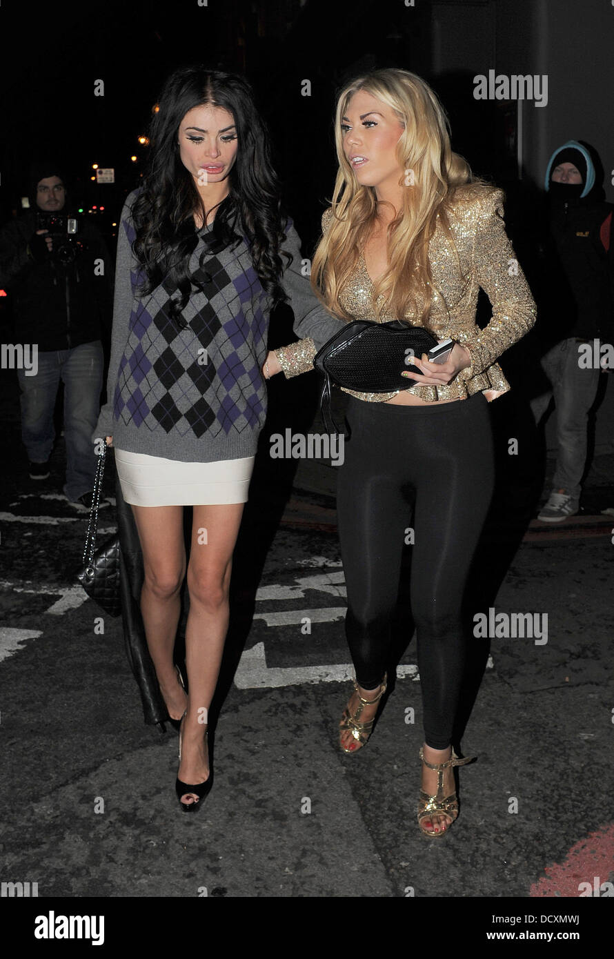 'The Only Way Is Essex' girls Lauren Pope, Chole Simms, and Frankie Essex enjoy a night out at a bar in - Stock Image