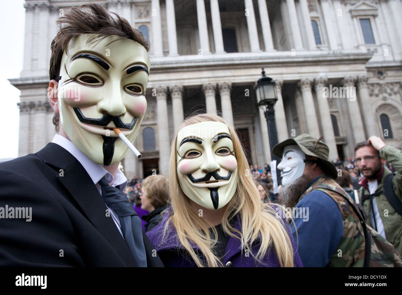 Anti capitalist protesters outside St Pauls Cathedral in London, UK - Stock Image