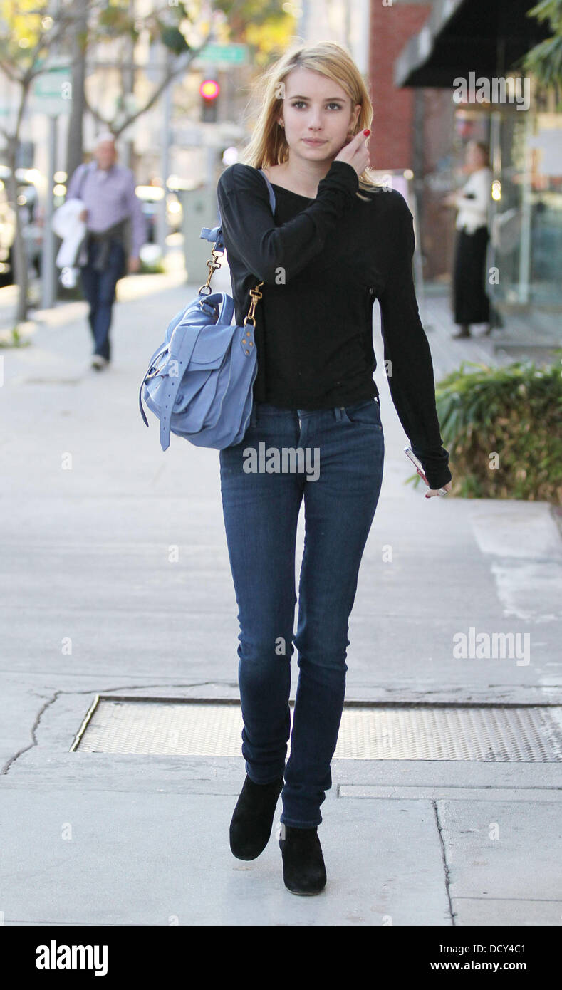 Emma Roberts heads to Beverly Hills Nail Design for a nail treatment  Beverly Hills, California - 09.01.12 - Stock Image
