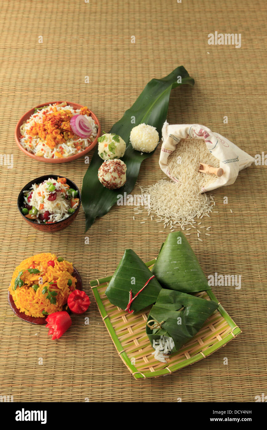 Rice, variety of ways of preparing and presenting, - Stock Image