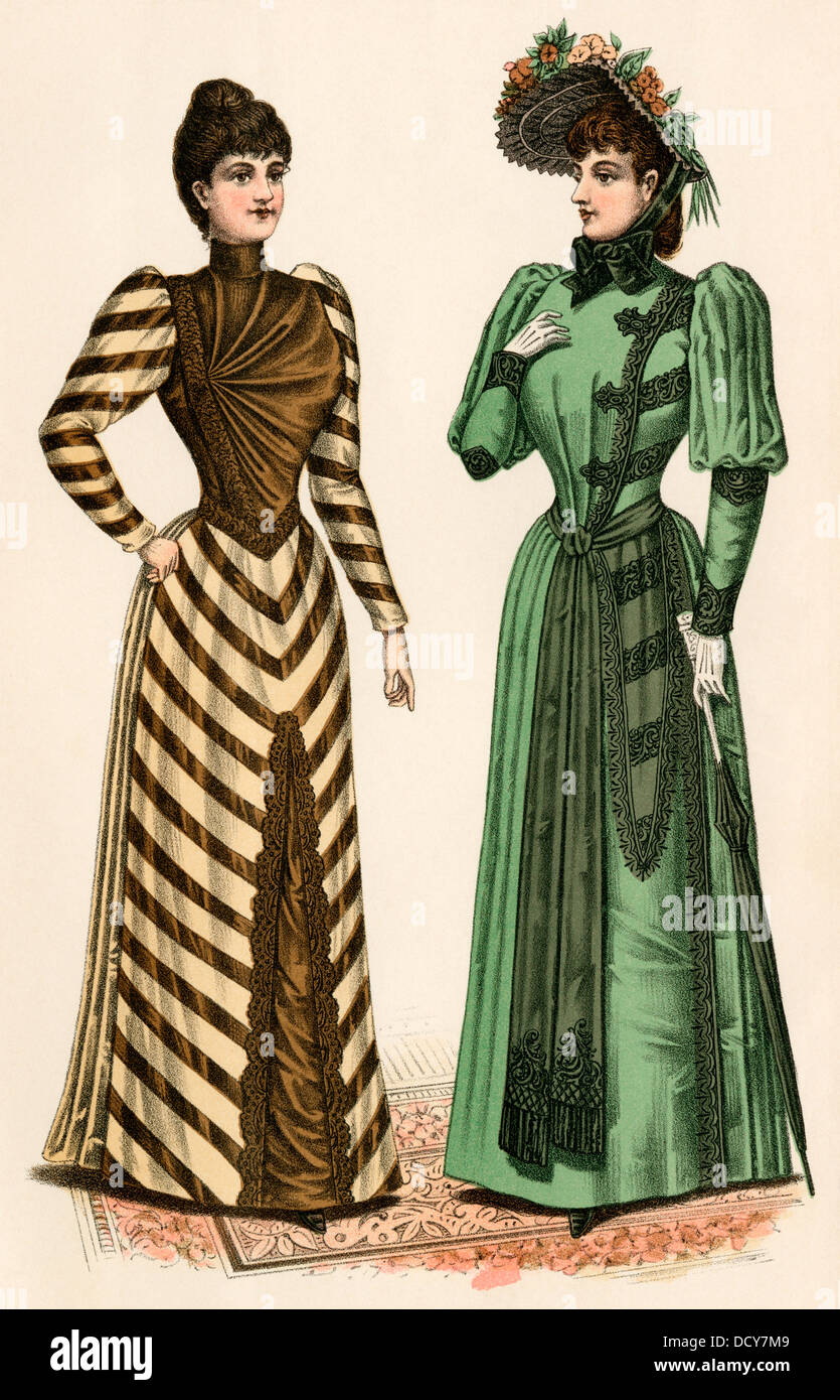 Godey's ladies' fashions, 1890s. Hand-colored print - Stock Image