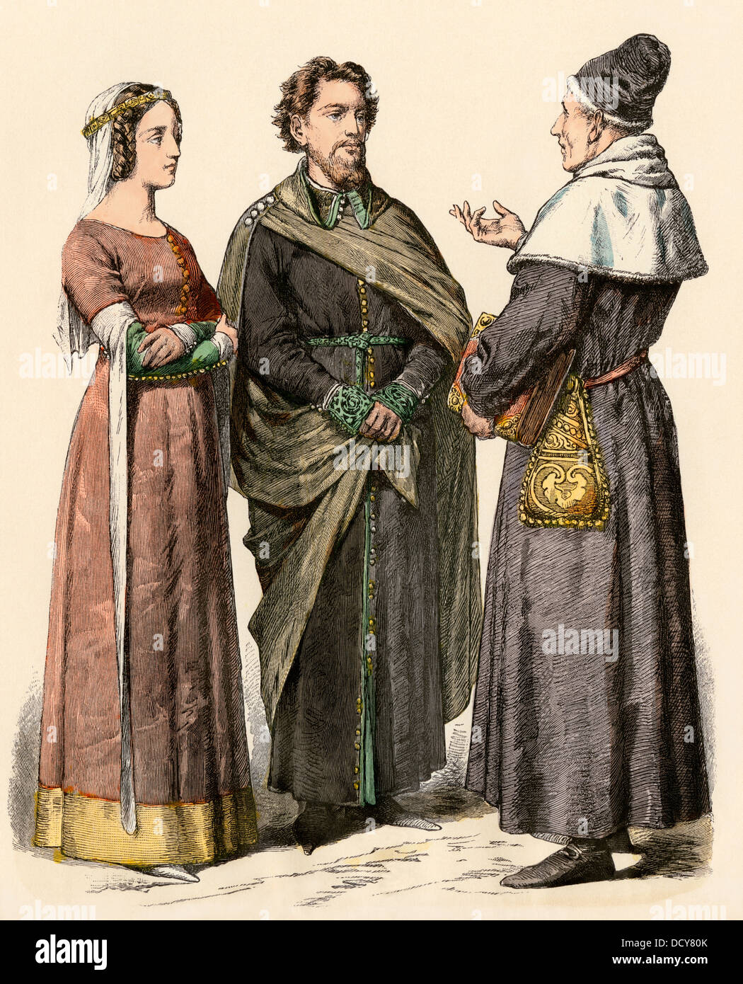 Middle-class European couple and a scholar in the 1300s. Hand-colored print - Stock Image