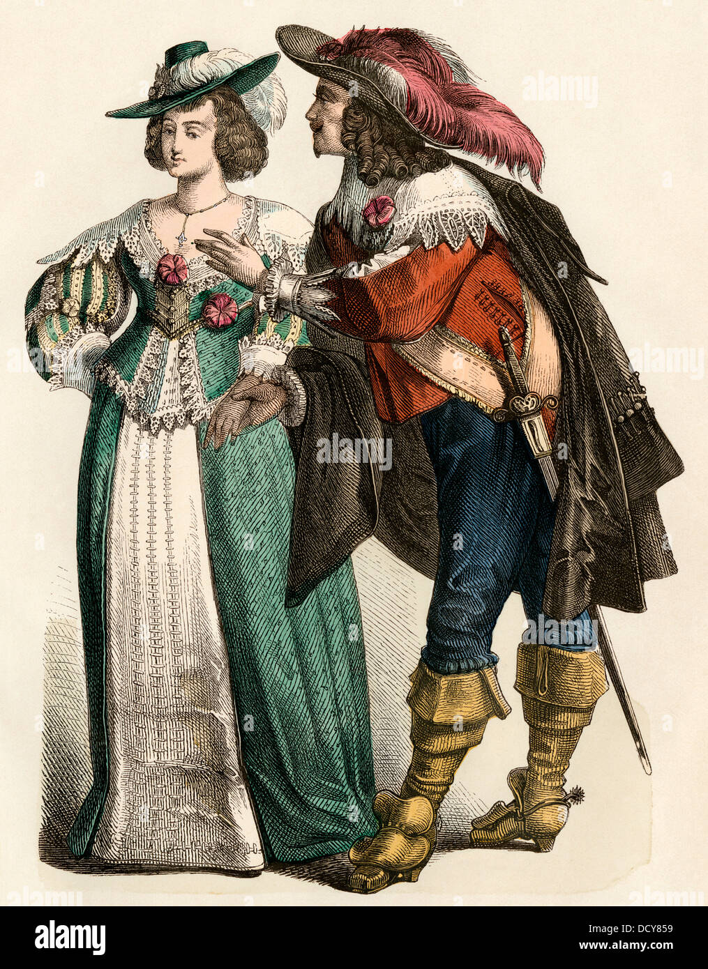 Fashionable German couple of the 1600s. Hand-colored print - Stock Image