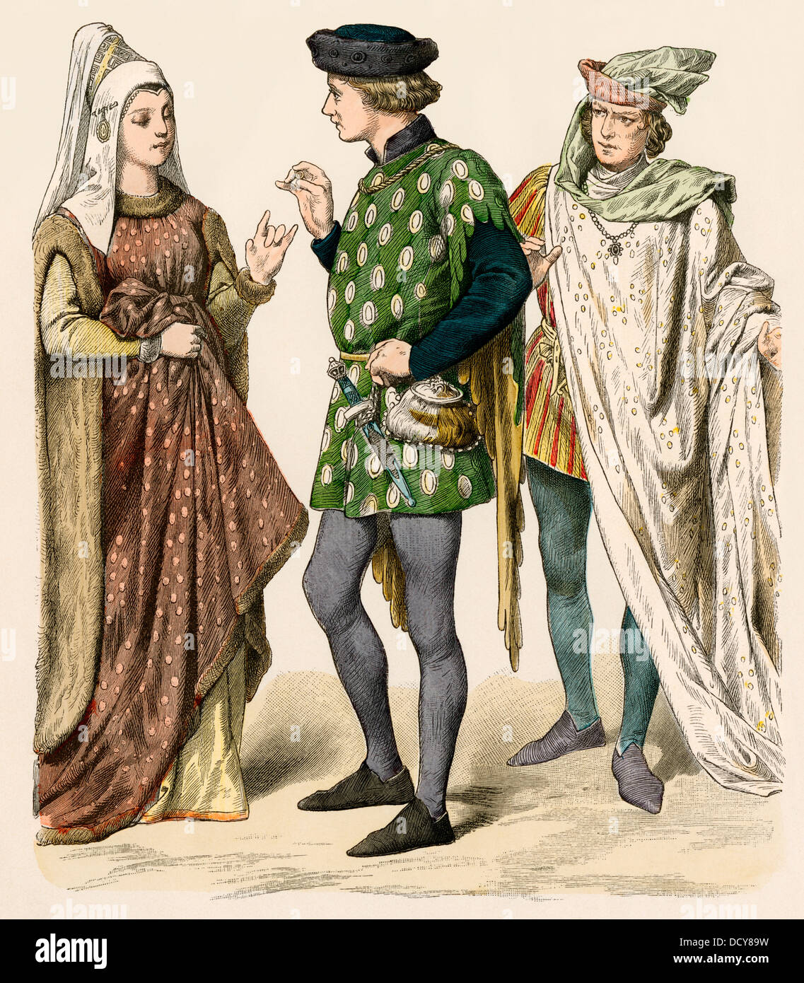 English citizens of the early 1400s. Hand-colored print - Stock Image