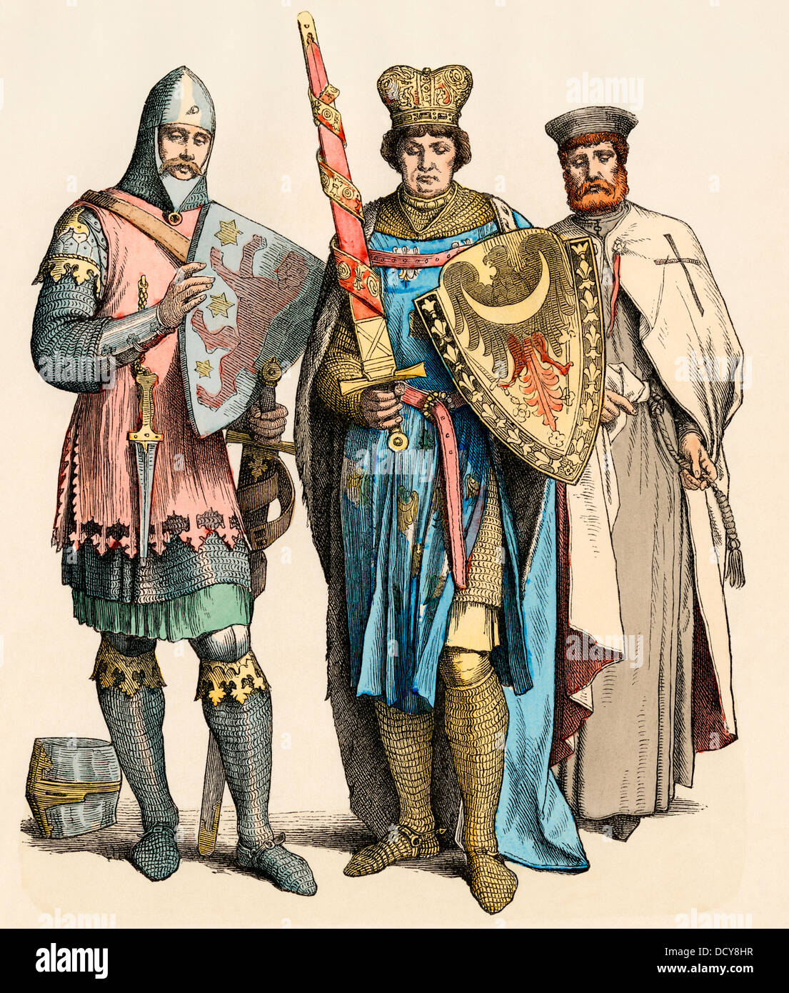 Medieval knight, prince, and Templar Knight (left-right). Hand-colored print - Stock Image