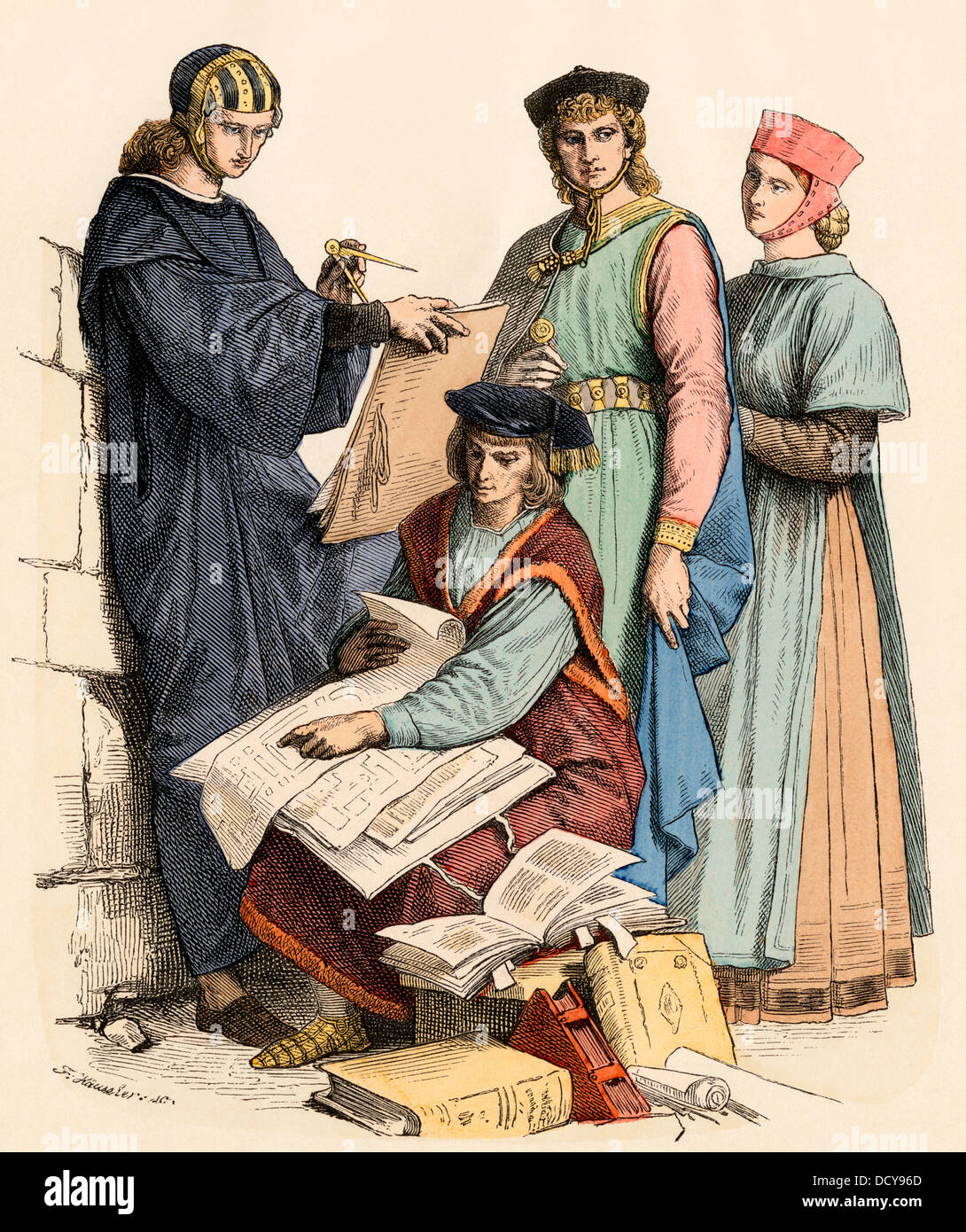 Italian scholar and artist in the 13th century. Hand-colored print - Stock Image
