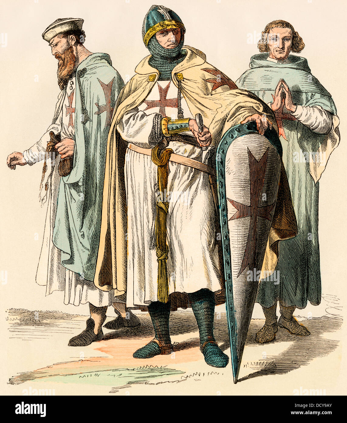 Templar knights of the time of the Crusades. Hand-colored print - Stock Image