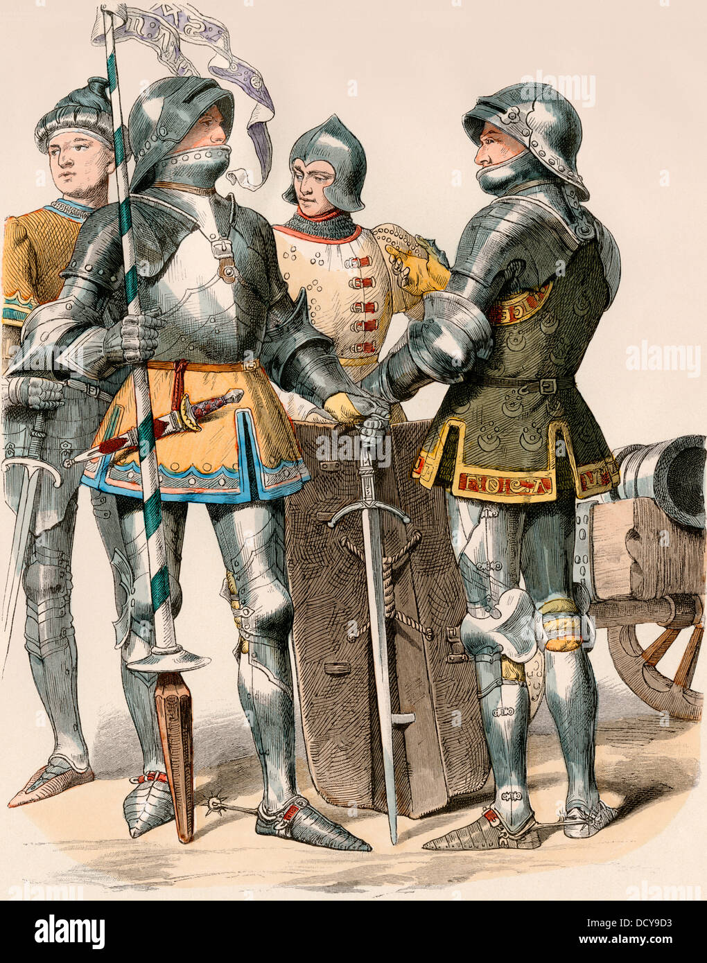 Burgundian knights in plate armor, 1470. Hand-colored print