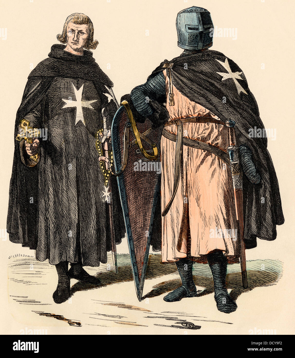 Knights Hospitaller during the Crusades, later known as knights of Malta. Hand-colored print - Stock Image