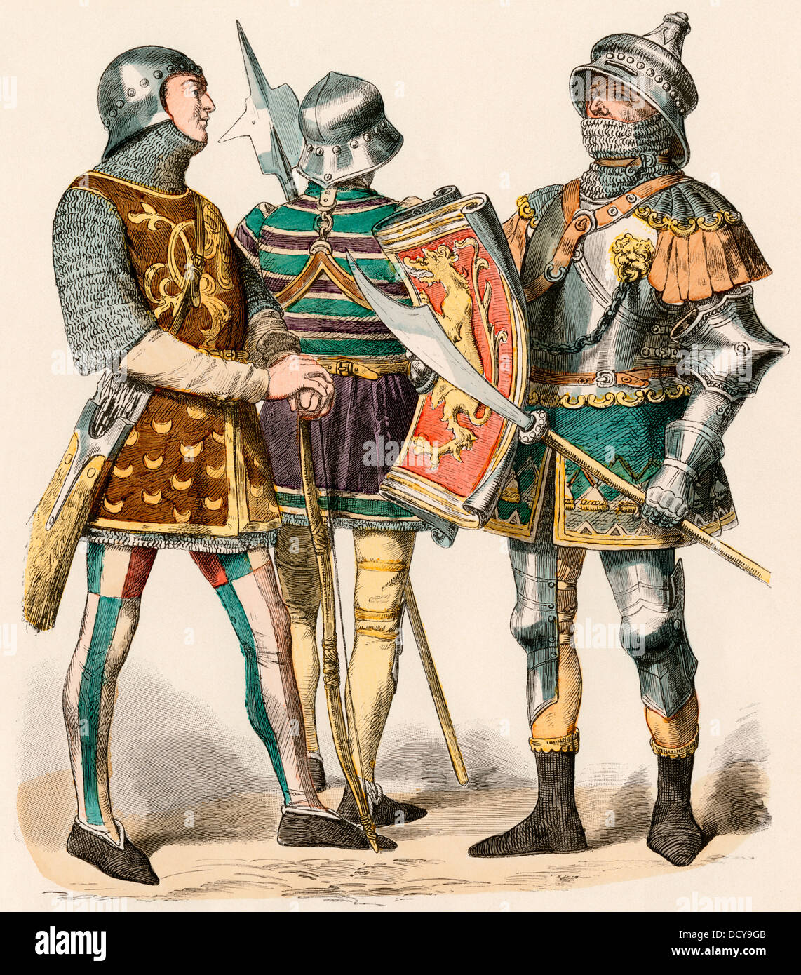 Burgundian archer wearing chain mail and a knight in plate armor, 1470. Hand-colored print - Stock Image